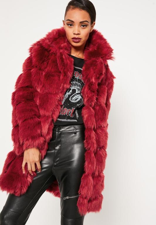 red-bubble-faux-fur-coat